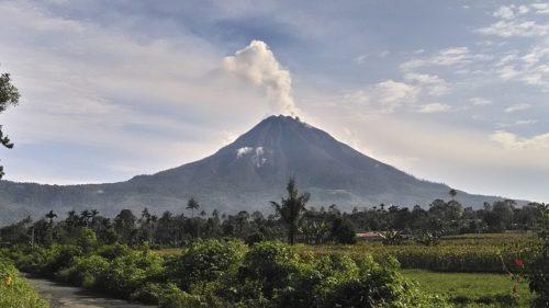 Mount Sinabung erupting in 2017.