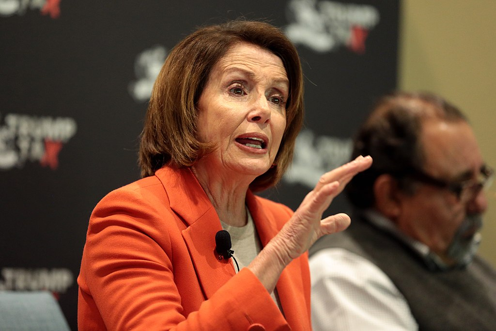 This picture shows Ms. Pelosi speaking at an event in Phoenix, AZ.