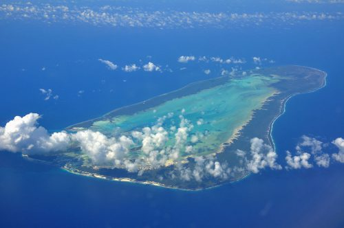 View of the Aldabra Atoll from the air.