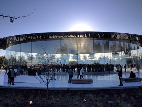 Glass windows and doors at Apple Park - Steve Jobs Theater
