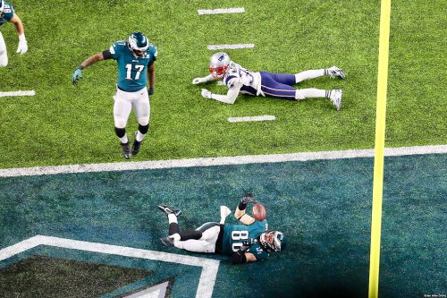 Zach Ertz of the Philadelphia Eagles scored the game-winning touchdown in Super Bowl LII.
