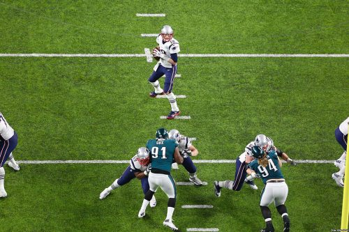 New England Patriots quarterback Tom Brady about to pass during Super Bowl LII.