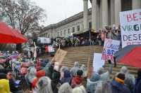 West Virginia teachers protest low pay raise.