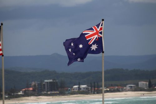 The flag of Australia (the country).