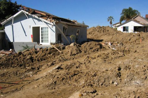 Houses damaged by mudslides - 2005.