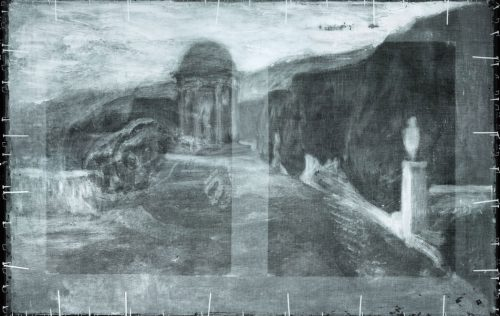 X-ray picture of The Crouching Beggar shows a landscape beneath the painting.