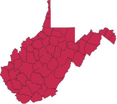Map of West Virginia showing closed school districts. (Red = closed)