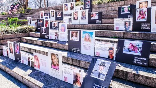 People who have died in gun violence were remembered at the protest.