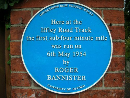 Sign marking the track where Bannister set the record