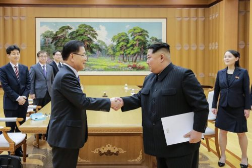 North Korean leader Kim Jon-un met with Chung Eui-yong of South Korea on March 5, 2018.