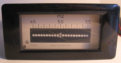A meter showing slightly lower than 50 changes (cycles) per second