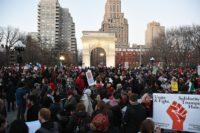Rally in New York on International Women's Day last year
