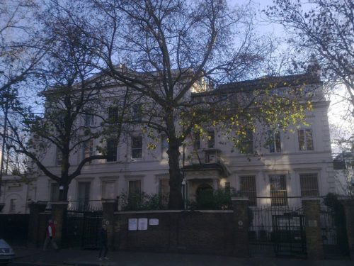 The Russian Embassy in London. This is where many Russian diplomats work.