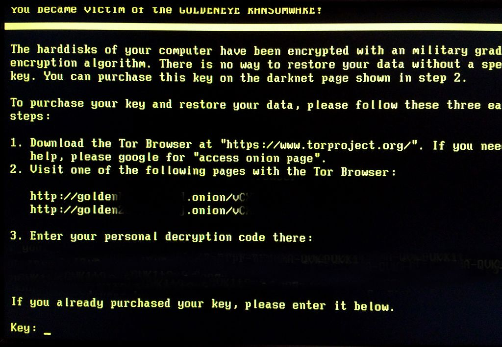 Example of a ransomware message.