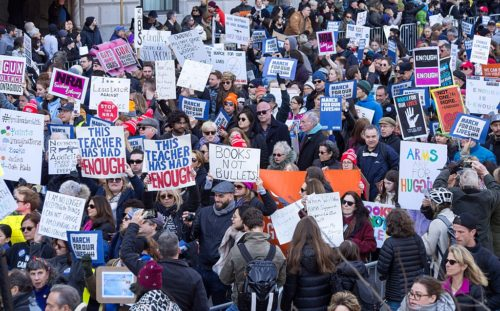 March for Our Lives protest in New York City, one of 800 protests around the world.