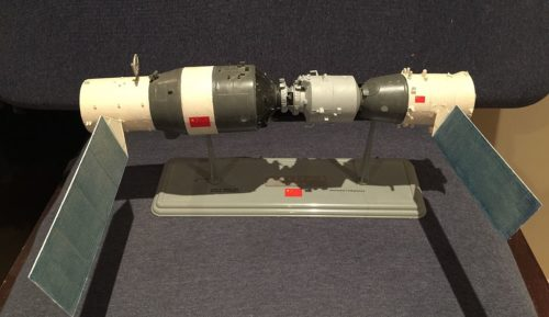 Model of the Chinese space station Tiangong-1.