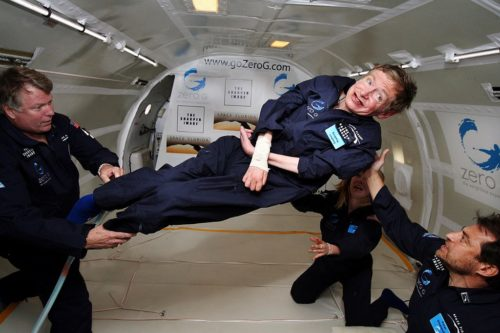 Stephen Hawking enjoys zero gravity in a special airplane flight.
