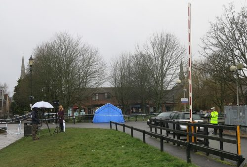 Police have closed off the area where Sergei Skripal and his daughter were found.