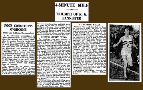 Newspaper clippings about Roger Bannister's record
