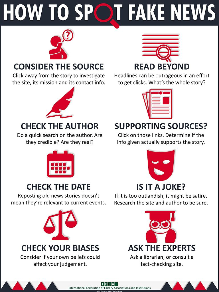 Some ideas for ways to spot fake news.