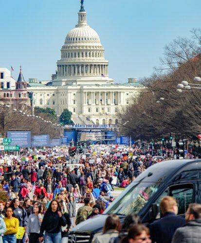 March for our Lives protest, with Capitol building in the background. Washington, DC