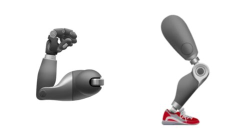 These artificial arm and leg emojis could represent someone who had lost an arm or leg.