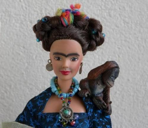 Someone has changed this Barbie Doll to look more like Frida Kahlo.