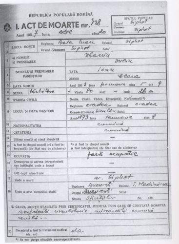 Example of a death certificate from Romania