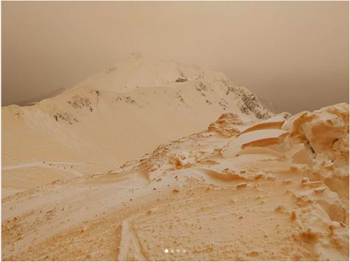 Snow was orange in parts of Russia recently as a result of sand storms from Africa.