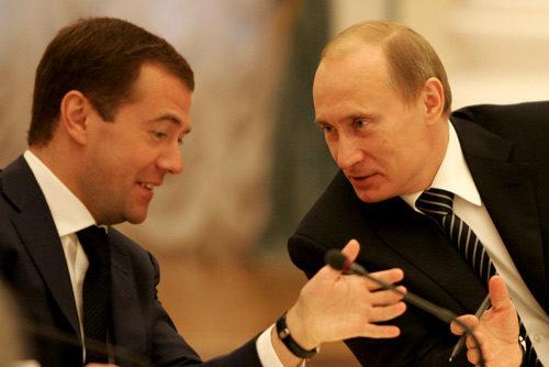 In 2008, Dmitry Medvedev (left) was elected president. He made Vladimir Putin Prime Minister.
