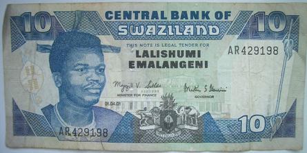 10 Emalangeni bill from Swaziland