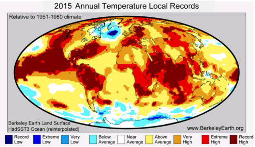 Places that were hotter (red) and colder (blue) in 2015 than averages for 1951-1980.