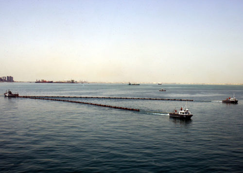 """Floating """"booms"""" like the ones in this picture are being used to contain the oil spill. This picture is from Bahrain."""