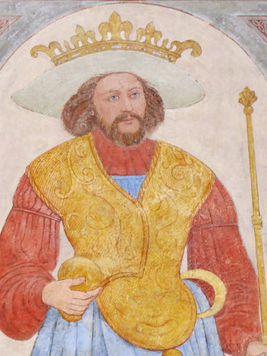 Painting of Harald Blåtand Gormsson (Bluetooth) in Roskilde Cathedral.