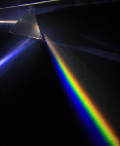 Light is split as it goes through a prism.