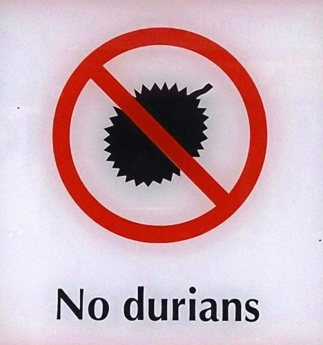 Durians are not allowed in the subways in Singapore.