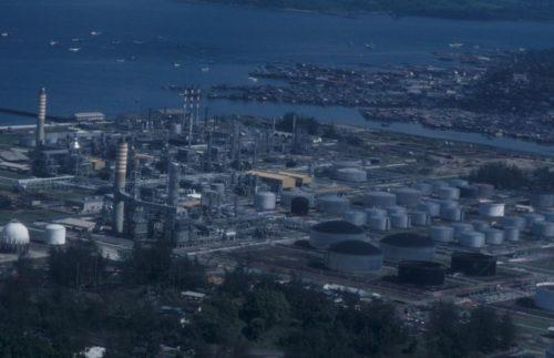 Balikpapan has huge oil factories and tanks for storing oil.
