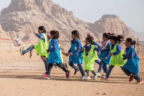Girls playing at an EPF football camp in Jordan.