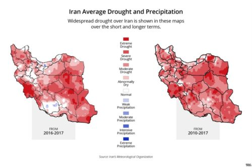 Map showing drought conditions in Iran