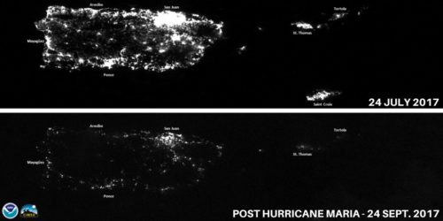 Pictures taken from space show that most electricity is out in Puerto Rico after the hurricane.