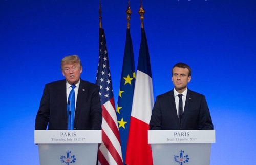 President Trump and President Macron in France, 2017.