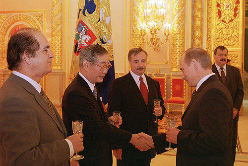 President Putin of Russia with Ambassadors of Hungary, Japan, and Cyprus.