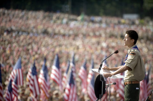 An Eagle Scout speaks to 45,000 people in 2010.