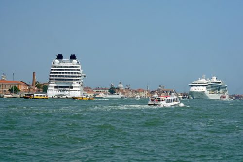 Cruise ships bring thousands of tourists to Venice every day.