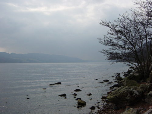 Rocky shoreline of Loch Ness