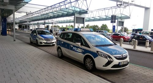 German police car at airport.