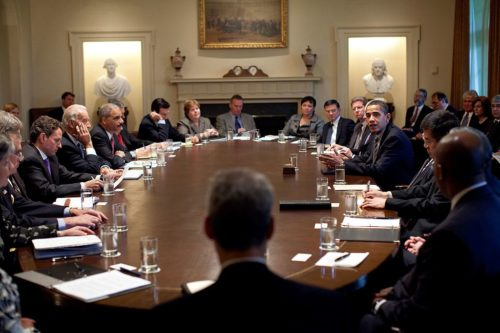 President Barack Obama meets with members of his Cabinet in the Cabinet Room at the White House.