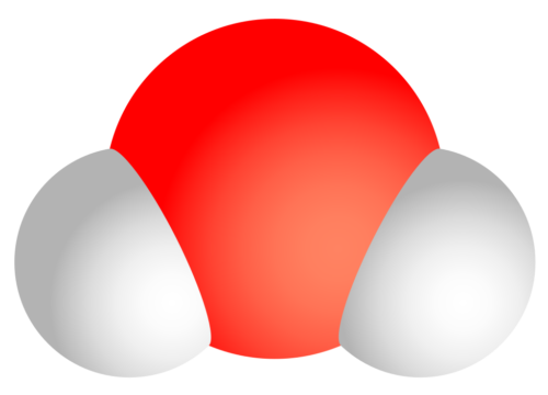 A water molecule is formed of two hydrogen atoms and one oxygen atom (H2O).