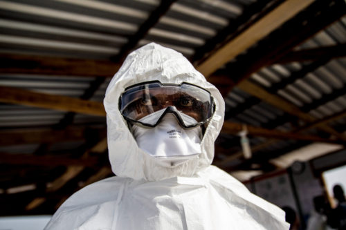 Workers dealing with Ebola must wear special clothes for protection.