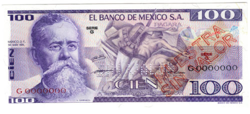 Mexican 100 Peso Bill